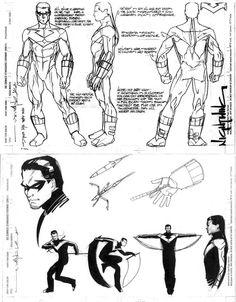 Brian Stelfreeze character design sheet for NIGHTWING of DC comics.