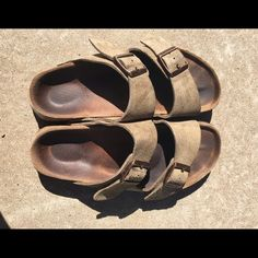 Birkenstocks Taupe colored Birkenstocks worn but still in great condition! Still have lots of wear left!! Willing to trade for other birks in size 6 or 7 . 36 or 37 Birkenstock Shoes