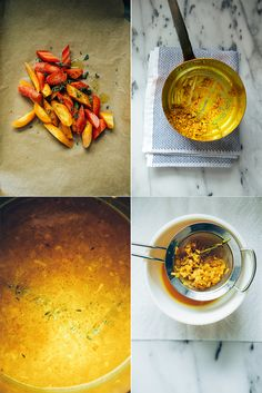 roasted carrots + rice with zingy turmeric broth // the first mess Healthy Food Blogs, Vegetarian Recipes Easy, Cooking Recipes, Healthy Recipes, Vegan Meals, Healthy Eating, Kinds Of Soup, Berry Sauce, Roasted Carrots