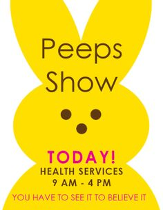 University of New Hampshire Live Peeps Show April 14th and 15th 9am - 4pm Health Services  http://www.unh.edu/health-services/