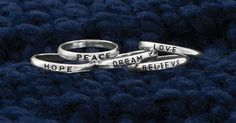 Sterling silver stackable sentiment rings