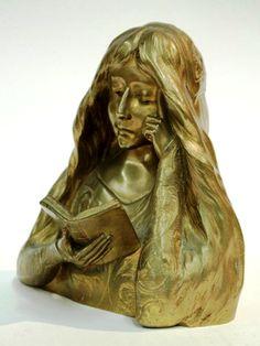 Delagrange, Léon (b,1872)- Woman Reading (Sculpteur) Books To Read For Women, Woman Reading, Art Nouveau, Lion Sculpture, Statue, Image, Sculpture, Sculptures