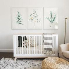 White and Green Nursery with Convertible Crib