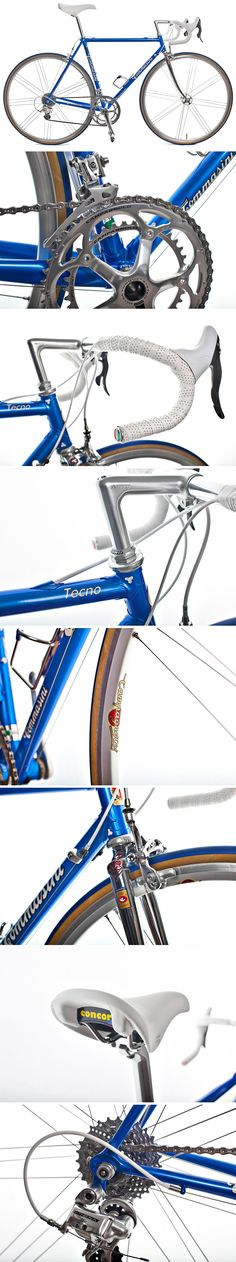 Tommasini Tecno custom built italian road bike with custom paint job, Campagnolo Athena 11s group set, Nitto seat post and quill stem, Selle San Marco Concor Supercorsa saddle in leather, Campagnolo Eurus wheels and Veloflex Pavé tires.