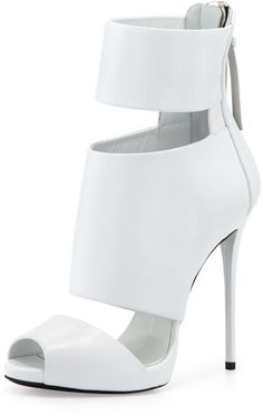 Love this: Highheel Banded Peeptoe Cage Bootie White @Lyst