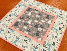 """Cat Themed Table Topper, Quilted Gray and Pink Table Topper with Cat Faces, Gift for Cat Lover, Cat Table Decor, 20.5"""" X 20.5"""""""