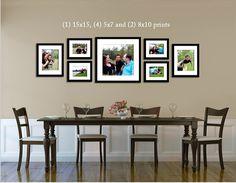 Photo Arrangement, Picture Arrangements, Table Arrangements, Dining Room Wall Decor, Dining Room Picture Wall, Living Room Wall Decor Ideas Above Couch, Dining Rooms, Dining Area, Dining Table