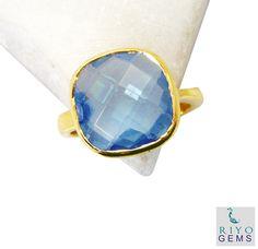 #Blue #Topaz #CZ Gold Plated #Fashion #Ring #Artificial #RiyoGems #Jewelry #Jewellery #gems #gemstone