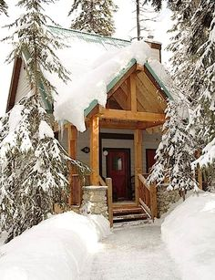 Tiny Mountain Cabin in the Snow