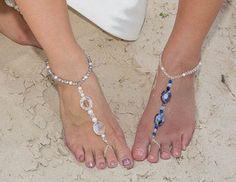 Bridal Foot Jewelry Pearl & Swarovski Crystal by BeautifulBride2Be, $68.00
