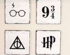 Harry Potter Hand Painted Wooden Signs (4 Piece Set)