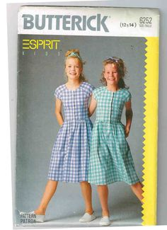 Esprit Girls Butterick #6252 Vintage 1988 Sewing Pattern, Sizes 12-14 Dress, Below Mid Knee, Bodice, Flared Skirt, Tie Ends, Short Sleeves by theShoppingMollies on Etsy