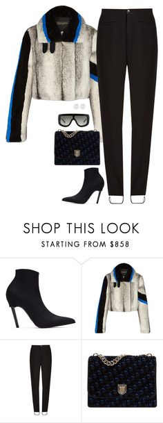 """Louis Vuitton fur coat and dior blue bag with celine sunglasses"" by hugovrcl ❤ liked on Polyvore featuring Balenciaga, Christian Dior and CÉLINE"