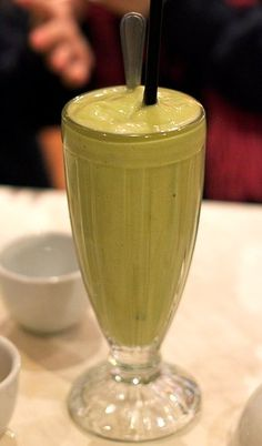 avocado milkshake  1/2 or 1 avocado  juice of 1/2 a lime  20 ozs of soy milk  2-4 tablespoons sweetened condensed milk  handful ice  Blend, serves 2.
