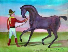 caballo negro, acrylic on canvas, 28 x 38 cm., 2007 . Pintura en venta de la Serie Gauchos del artista argentino Diego Manuel