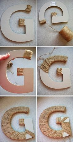Not twine – but maybe yellow and grey yarn or some kind of ribbon material? Not twine – but maybe yellow and grey yarn or some kind of ribbon material? Twine Letters, Diy Letters, Wooden Letters, Cardboard Letters, Decorative Letters For Wall, Twine Wrapped Letters, Decorate Letters, Yarn Letters, House Letters