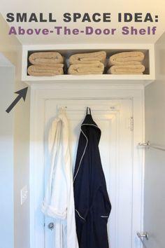 Lake house bathroom towel storage
