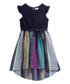 Loving this Navy Blue Geometric Stripe Hi-Low Dress - Kids on #zulily! #zulilyfinds
