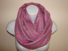 pink plaid infinity scarf navy grey flannel by OtiliaBoutique Plaid Infinity Scarf, Plaid Scarf, Grey Flannel, Blanket Scarf, Womens Scarves, Navy, Trending Outfits, Pink, Fashion