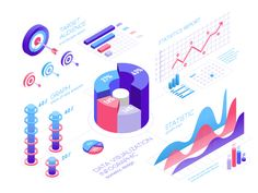 growth analisis pie chart information report diagram graph statistic chart isometric design visualization data Diagram Design, Graph Design, Chart Design, Design Design, Design Trends, 3d Data Visualization, Information Visualization, Data Icon, Chart Infographic