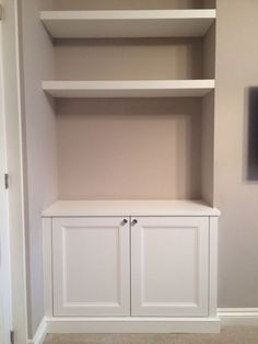 Alcove cupboard with floating shelves - for our nook? cupboard up to half wall then floating shelves? Alcove Cupboards, Cupboard Shelves, Built In Cupboards, Kitchen Shelves, Built In Tv Cabinet, Desk Cabinet, Bar Shelves, Corner Shelves, Living Room Alcove Shelving Ideas