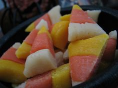 Healthy candy corn! Might do banana, watermelon, and pineapple