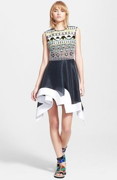 PETER PILOTTO 'Tessera' Embroidered Asymmetrical Fit & Flare Dress