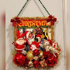 Retro Ephemera Mid Century Santa Ornament Vintage Kitsch Recycled Wood Christmas Decor Whimsical Handmade Gift