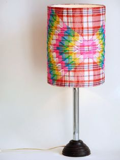 Hand embroidered Tartan Lampshade by NOUSH on Etsy: $80,-