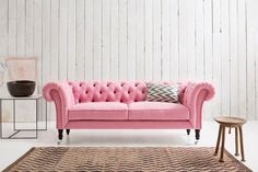 Charlotte Chesterfield Classic Sofa Upholstered in Brushed Cotton