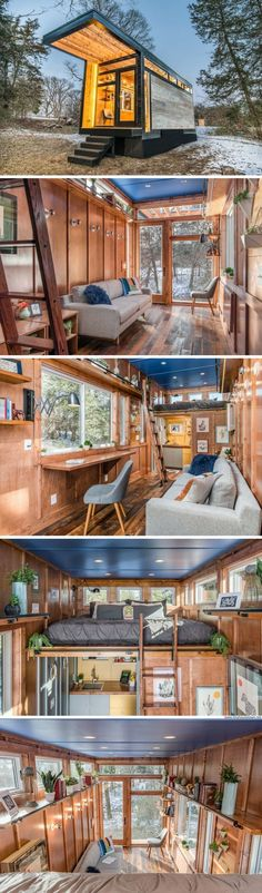 The Cornelia from New Frontier Tiny Homes  //  Tiny House Plans, Tiny House Plans, Small Bathroom Ideas, Small Living Room Ideas, DIY Room Decor, Space Saving Furniture, Under Bed Storage, Inspirational Tiny House Tree Houses, Bed Risers Ideas, and even Shabby Chic Furniture Ideas #tinyhouses #tinyhousemovement #tinyhouseforus #tinyhouseplans #tinyhouseforus #tinyhome