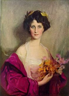 """Portrait of Winifred Anna Cavendish-Bentinck (née Dallas-Yorke), 6th Duchess of Portland "" (1912) Philip de László. Born Winifred Anna Dallas-Yorke [1863-1954], she was a bird  & animal protectionist, philanthropist and Mistress of the Robes to Queen Alexandra."