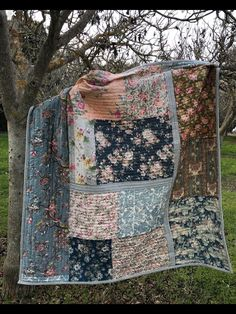 It is a happy day when a quilt is finished! This one is hanging out in our walnut orchard. It is made from vintage scraps found at the flea market all in one day. I did a very little cutting in order to preserve the love I feel for the pieces by cristina Quilt Baby, Rag Quilt, Scrappy Quilts, Easy Quilts, Quilting Projects, Quilting Designs, Sewing Projects, Quilting Templates, Quilting Ideas