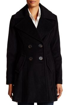 Image of BCBGeneration Double Breasted Fit & Flare Wool Blend Coat