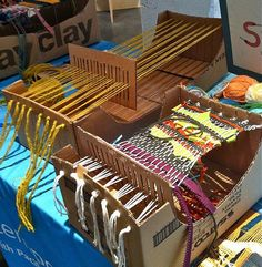 "Home made looms ;-)  ""cardboard box loom,"""