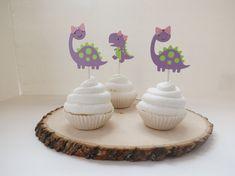 Girl T-Rex & Brontosaurus Dinosaur Cupcake by MonkeyLimeStudios