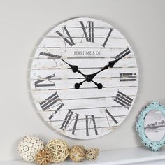 Shiplap wall clocks look amazing and are the perfect companion for farmhouse design and will look good in a variety of other styles as well. The shiplap wall clocks are big, eye-popping, the perfect accent and conversational pieces for your decor. White Wall Clocks, Rustic Wall Clocks, Wood Clocks, Rustic Walls, Diy Wall Clocks, Nautical Clocks, Metal Clock, Clock Wall, Farmhouse Wall Clocks