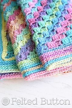 A lightweight and colorful corner-to-corner blanket that is written in baby size but can be worked up to any dimensions you want, this Spring into Summer Blanket is pretty terrific! Using a yarn with long-color runs gives the self striping effect and reduces the need for weaving ends. Works up easily without much brain energy--perfect for relaxing on a warm Spring or Summer day!