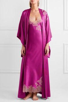 Carine Gilson - Lace-trimmed Silk-twill Nightdress - Magenta - large