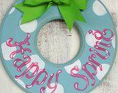 Decorative wooden Spring Wreath