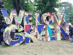 We Love Green tampak depan ! We Love Green Festival, Mouton Cadet, Signage Design, Lettering Design, Entrance Signage, Tecno, Exhibition Booth, Collaborative Art, Festival Decorations
