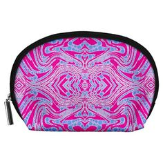 Trippy Florescent Pink Blue Abstract  Accessory Pouch (Large)