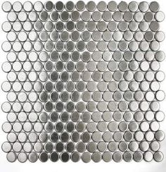 stainless steel penny tile backsplash. Love it.  Would look good with a dot in a color.