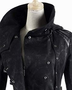 New Scorpion Mens Coat Long Jacket Black Gothic Steampunk Hooded Trench Steampunk Jacket, Gothic Steampunk, Steampunk Fashion, Pirate Jacket, Hooded Trench Coat, Langer Mantel, Black Goth, Jeans Fabric, Punk Rave
