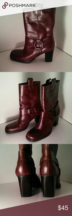 Gorgeous leather harness boots Dark reddish brown with brass rings and 3 inch heel. Worn a few times on carpet. In excellent condition, with a few light scratches that are barely noticeable. Vintage Shoes