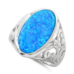 Sterling Silver Oval Blue Lab Opal Cocktail Ring