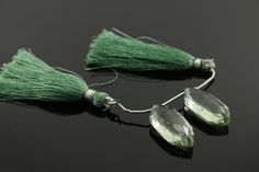 Natural green amethyst faceted fancy gemstone drop by Beadspoint, $29.99