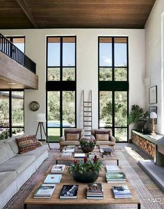 Home Design – Consider your View Through the Window – Dig This Design Home design means to consider all architectural elements in the room. If any element is not in sync then you feel it. Windows are a big part of home design. Home Living Room, Interior Design Living Room, Living Room Designs, Apartment Living, High Ceiling Living Room Modern, Apartment Design, Design Room, Large Living Rooms, Small Living