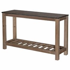 32 inches high x 54 inches wide x 16 inches deep  A handsome, honed rich stone tabletop is ideal counter space for kitchens or bars. Natural elm supports the console and adds a lower, slatted shelf for extra storage. Whether you'd like more prep area in your kitchen or a bonus breakfast bar, this stylish piece is the perfect fit.
