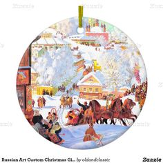 """С Новым Годом и Рождеством. Russian Art Christmas Gift Ceramic Ornaments with customizable greeting in Russian. """"Shrove Tide"""" (Maslenitsa), early 20th century. Artist: Boris Kustodiev. The message in Russian on the back of the ornament translated as """" Happy New Year and a Merry Christmas"""" as Russian Orthodox people celebrate Christmas on January 7th. The oldandclassic store at zazzle.com"""